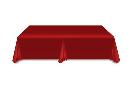 Red tablecloth on the table empty mockup. Isolated vector illustration on a light background.