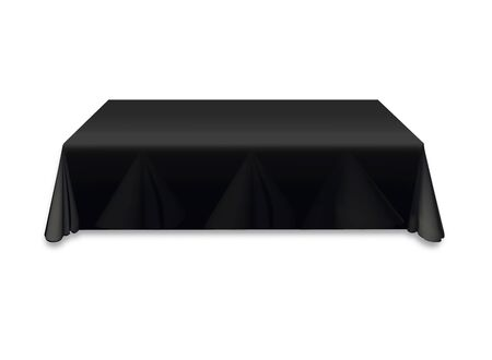 Black tablecloth on the table empty mockup. Isolated vector illustration on a light background.