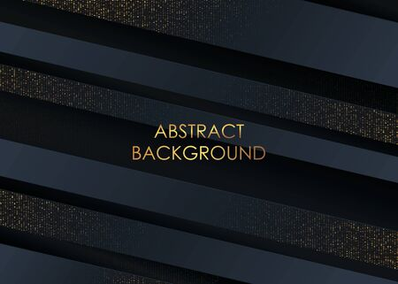 Abstract 3d luxury black background with glitter. Black banner with gold dots. Vector background.