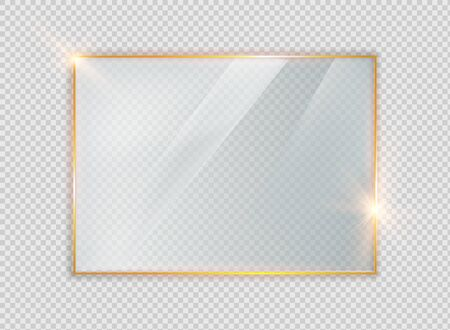 Gold shiny glowing vintage frame with shadows isolated on transparent background. Golden luxury realistic rectangle border Ilustração