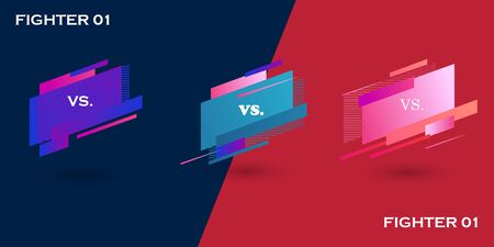 Versus screen. Vs battle headline, conflict duel between Red and Blue teams. Confrontation fight competition. Boxing martial arts mma football basketball soccer fighter match vector background.