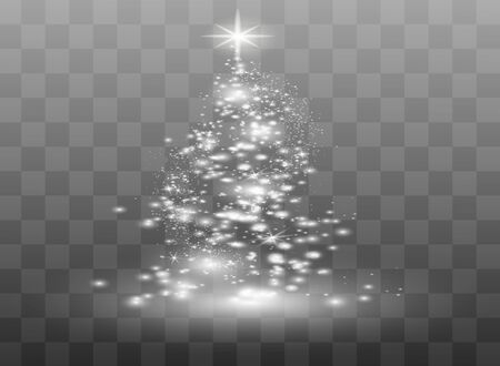 Illumination Lights Shiny Christmas tree Isolated on Transparent Background. White tree as symbol of Happy New Year, Merry Christmas holiday celebration. Bright light decoration design. Vector. Ilustração