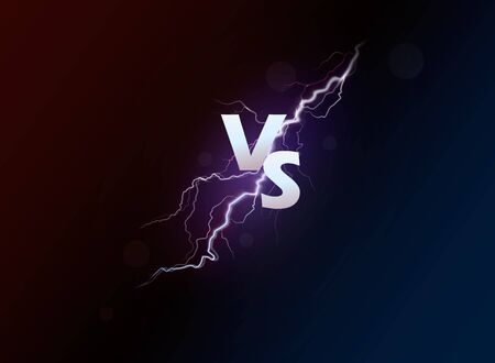 Versus banner with blue sparkling lightning.Vector illustration