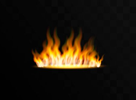 Realistic fire flames set on transparent black background.Vector illustration