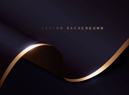 black and gold cloth background.Luxury backdrop with wave strip in dark style.