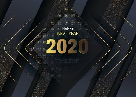 Happy New Year 2020 winter holiday greeting card design template. Party poster, banner or invitation gold glittering stars confetti glitter decoration. Vector background with golden gift bow Ilustração