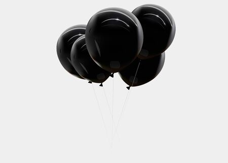 Realistic the black balloon isolated on transparent background. Vector illustration.