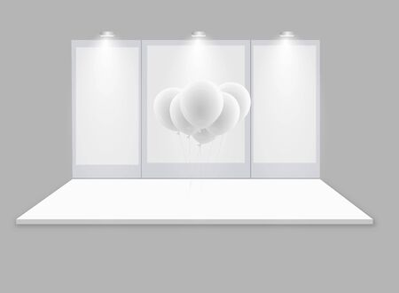 3D exhibition booth. White empty promotional stand with desk. Vector white empty geometric square. Presentation event room display. Blank box template