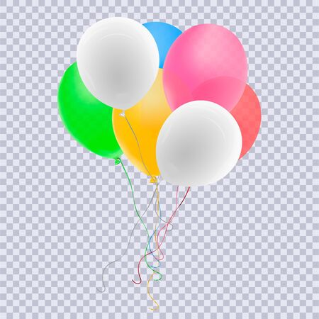 Realistic red balloon isolated on transparent background. Vector illustration. Vettoriali