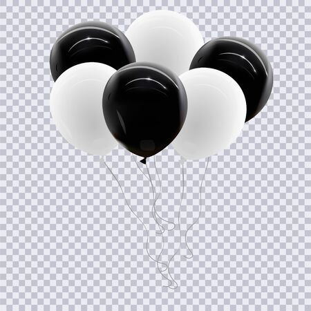 Realistic white,the black balloon isolated on transparent background. Vector illustration.