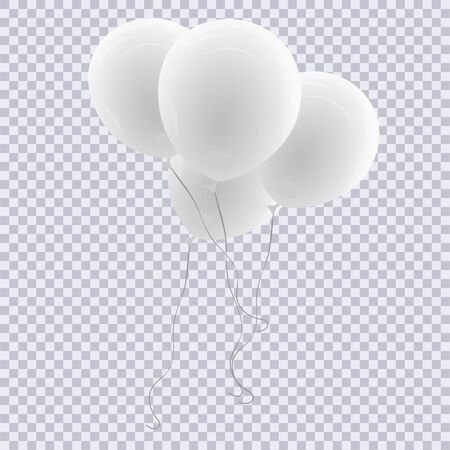 Realistic white balloon isolated on transparent background. Vector illustration. Vettoriali