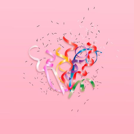 Confetti background isolated. Colorful ribbons burst. Vector festive illustration.