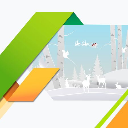 winter season and merry christmas with the animal in the forest, paper art and craft style. 일러스트