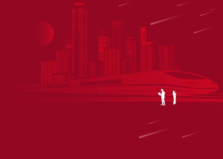 Infrastructure transportation panoramic. Railway bridge. Trains rides. Towers and skyscrapers. Urban scene, modern city on background, industrial architecture.reds lines, vector design art