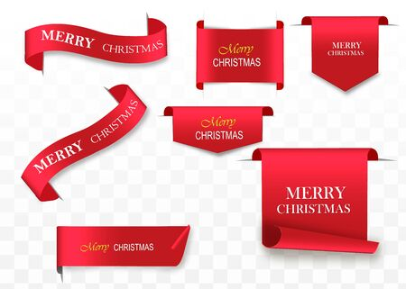 Merry Christmas celebration background with red realistic ribbon banner . Vector illustration Archivio Fotografico - 134481319