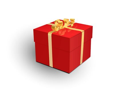 Gift box with red ribbon and bow. Vector 3d illustration. Christmas decoration. Ilustração