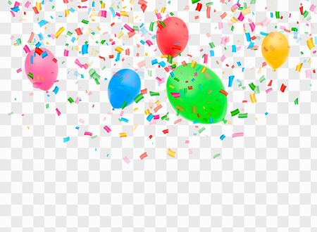 Winner background with confetti and colorful balloons. Vector win banner.