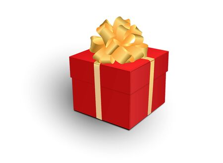 Gift box with gold ribbon and bow. Vector 3d illustration. Christmas decoration. Ilustração
