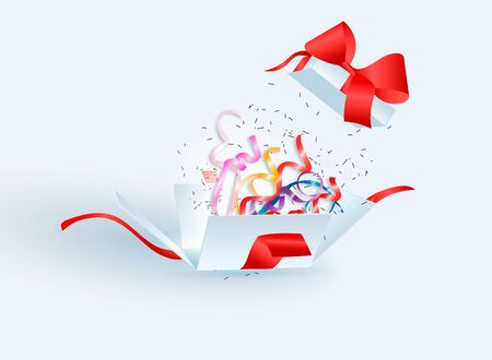 Open gift box with confetti burst explosion isolated. 3d vector background. Ilustração