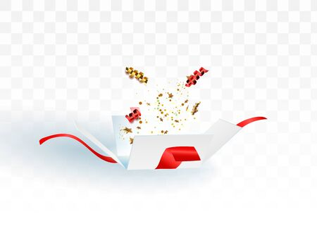 Open gift box with confetti burst explosion isolated. 3d vector background Ilustração