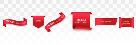 Merry Christmas celebration background with red realistic ribbon banner . Vector illustration. Ilustrace