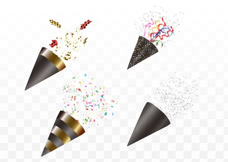 Party popper isolated. Golden confetti. Vector illustration. Happy birthday concept