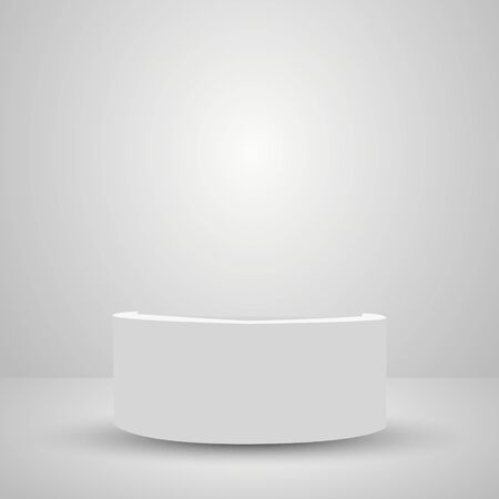 Abstract simple realistic pedestal template. Square Podium for product presentation. Vector illustration. Archivio Fotografico - 135542253