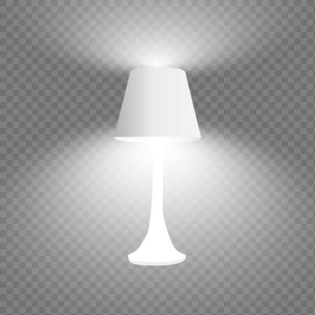 Vector 3d Realistic Render Illuminated Lamp Closeup Isolated on Transparent Background. Floor Lamp. Vettoriali