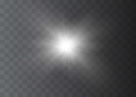 White glowing light explodes on a transparent background. Vector illustration of light decoration effect with ray. Bright Star.