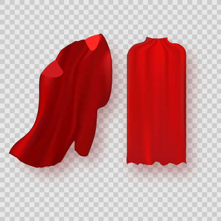 Cape isolated on white background. Red superhero cloak. Vector super hero cloth or silk flying cape template