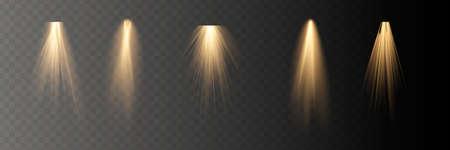 Vector spotlight. Light effect Horizontal stellar rays and