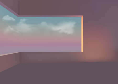 3d room with a window overlooking the sea, clouds and sunset. Vector graphics 向量圖像