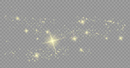 The dust sparks and golden stars shine with special light. Vector sparkles on a transparent background. Christmas light effect. Sparkling magical dust Ilustrace