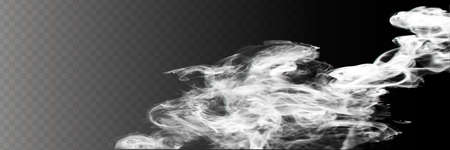 Transparent special effect stands out with fog or smoke. White cloud vector, fog or smog Ilustrace