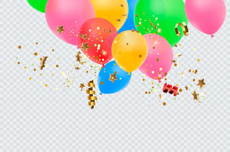 Balloon border with shiny gold glitter and star confetti isolated on transparent background. Vector realistic golden festive 3d helium baloons banner for anniversary, birthday party design Ilustrace