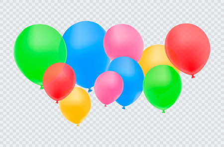 Realistic red balloon isolated on transparent background. Vector illustratio Ilustrace
