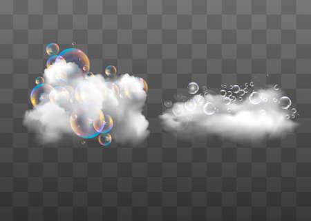 Bath foam with shampoo bubbles isolated on a transparent background. Vector shave, foam mousse with bubbles top view template for your advertising design