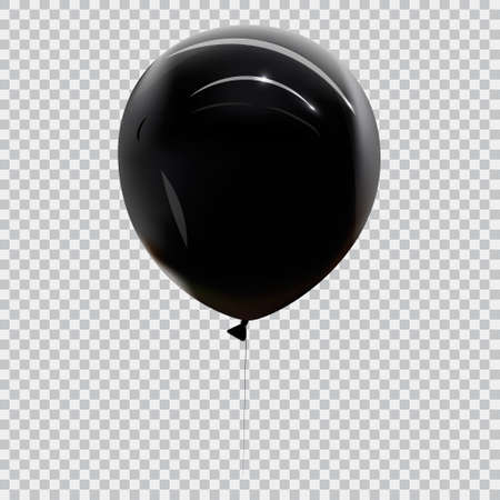 Realistic black balloons isolated on transparent background. Vector illustration