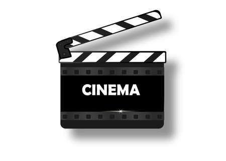 Movie clapper isolated on white. Black open clapperboard. Vector illustration. Video icon. Film making industry Ilustrace
