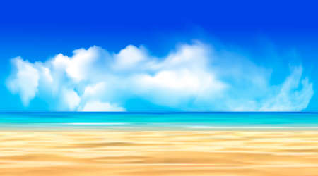 blue sea with beach and clouds. Bali vector graphics