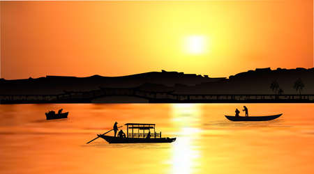 Orange sunset with silhouette of famous Balinese water temple Ulun Danu and fishing boats on Bratan lake, Bali, Indonesia. Realistic vector illustration background