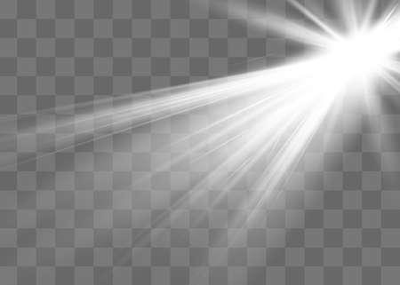 Sunlight translucent special light effect design. Vector blur in radiance light. Isolated sunlight transparent background. Decor element. Horizontal beams of light.