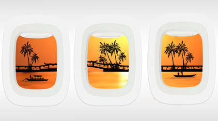 Airplane windows with tropical Bali island landmarks and palm trees colorful views. Illustration for banners and posters.