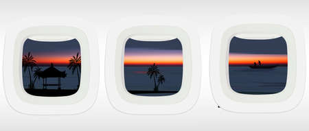 Airplane windows with tropical .vector illustration of Bali water temple, palm trees and fishing boats in ocean.