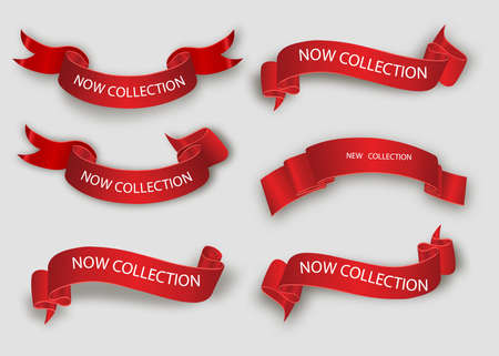 New collection tags. Vector badges and labels. Paper ribbons Ilustrace