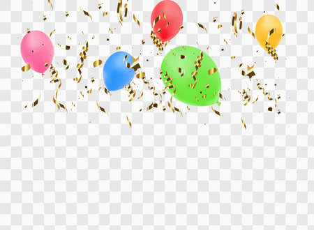 Balloon border with shiny gold glitter and star confetti isolated on transparent background. Ilustrace