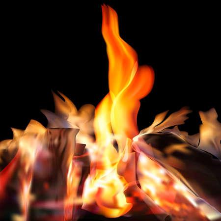 Realistic fire flames set on transparent background. 3D bonfire on transparent background isolated vector illustration.