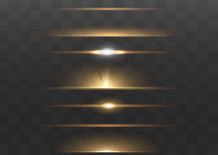 yellow horizontal lens flares pack. Laser beams, horizontal light rays. Beautiful light flares. Glowing streaks on dark background. Luminous abstract sparkling lined background. Ilustrace