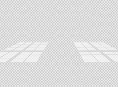 Overlay shadow effect. Transparent window overlay on the floor. Realistic light effect of shadows and natural lighting on a transparent background. Vector illustration
