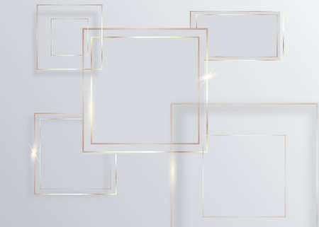 Abstract lines golden square on white background